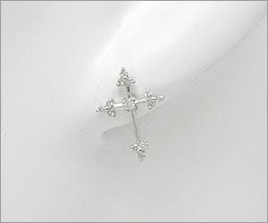 ホワイトゴールド ダイヤモンドピアス/0126◆【送料無料】