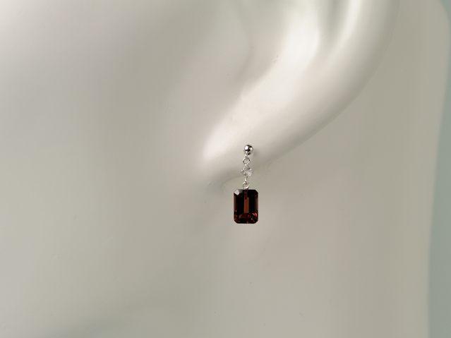 ホワイトゴールド ガーネット,ホワイトトパーズピアス/0473/K14WG
